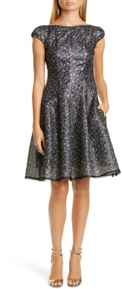 Talbot Runhof Metallic Petal Cloque Cocktail Dress