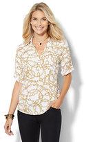 New York & Co. Soho Soft Shirt - One-Pocket Popover - Chain-Link Print
