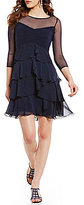 Adrianna Papell Sweetheart Neck 3/4 Sleeve Tiered A-Line Dress