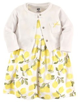 Hudson Baby Toddler Girls Dress & Cardigan, 2-Piece Outfit Set
