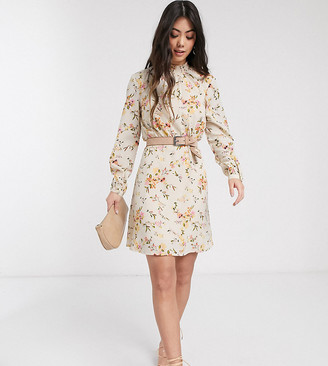 Vero Moda Petite mini dress with high neck in cream floral