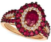 LeVian Le Vian Certified Passion RubyTM (2 ct. t.w.) & Diamond (1/4 ct. t.w.) Ring in 14k Rose Gold