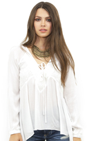 West Coast Wardrobe Amelia Lace Up Front Peasant Top in Ivory