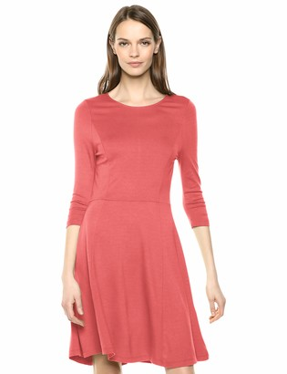 Lark & Ro 3/4 Sleeve Knit Fit and Flare Dress Hunter Green L