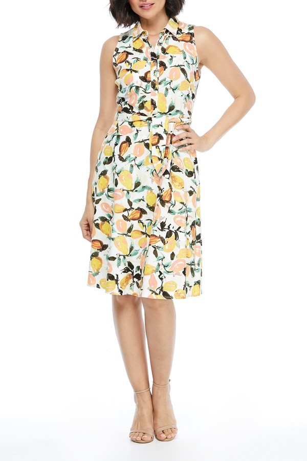 London Times Sleeveless Floral Print Shirt Dress (Petite)