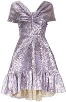 Bambah V-neck metallic sheen midi dress