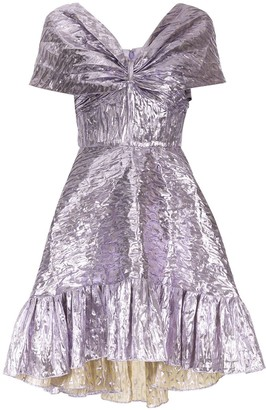 Bambah V-neck metallic sheen midi dress