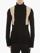 Rick Owens Black Panelled Wool Sweater