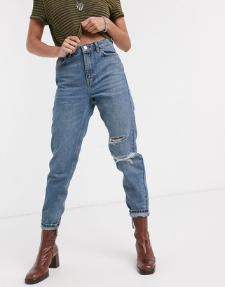 Topshop rip mom jeans in mid blue