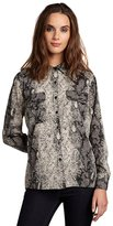 grey snakeskin printed flap pocket 'Raquel' button up blouse