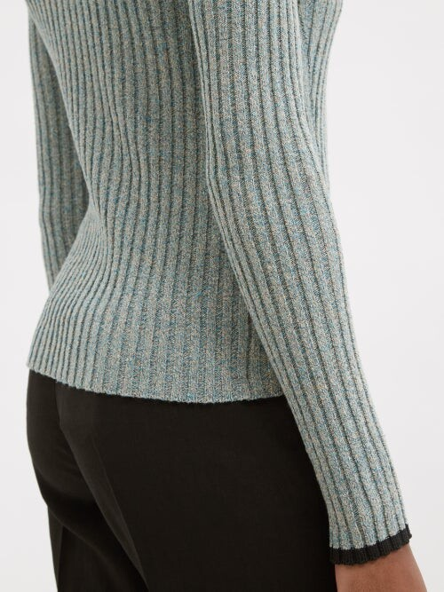 Thumbnail for your product : Ganni Ribbed Polo Sweater - Grey