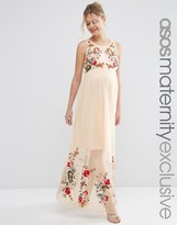 Asos Salon Mesh Maxi Dress with Embroidery