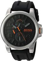 HUGO BOSS BOSS Orange Men's 'DETROIT SPORT' Quartz Stainless Steel and Silicone Casual Watch, Color:Black (Model: 1550006)