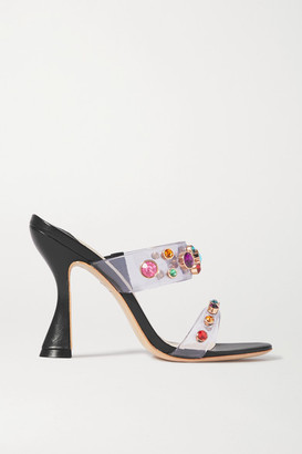 Sophia Webster Dina Crystal-embellished Vinyl And Leather Mules - Black