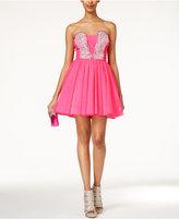 As U Wish Juniors' Strapless Jewel-Embellished A-Line Dress