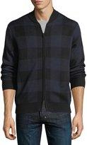 Neiman Marcus Plaid Wool-Blend Bomber Jacket