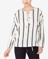 Catherine Malandrino Striped Lace-Up Top