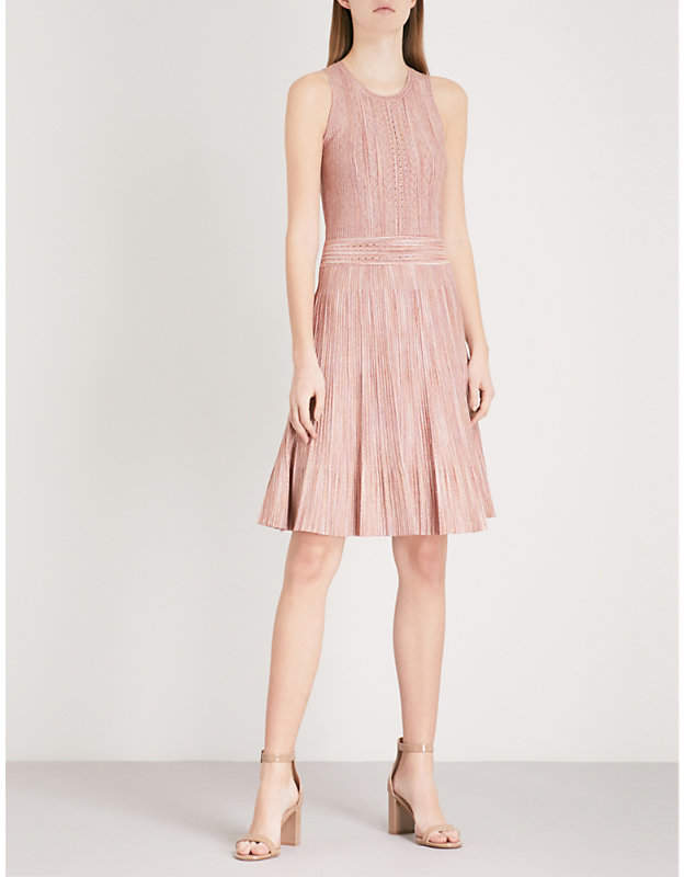 Sandro Metallic knit fit-and-flare dress
