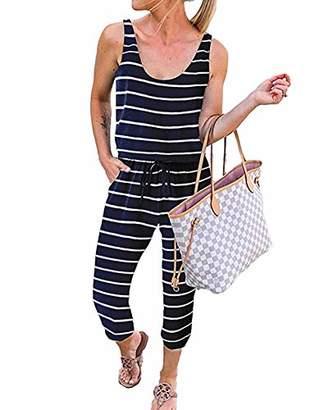 KIRUNDO Women's Casual Round Neck Sleeveless Jumpsuit Drawstring Waist Stretchy Long Pant Romper with Pockets (