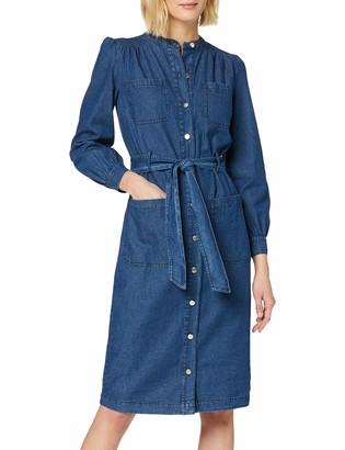 Warehouse Women's Grandad Collar Shirt Dress Casual