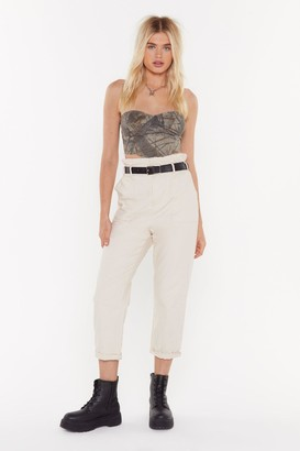Nasty Gal Womens Just Roll With It Belted Cargo Trousers - Beige - L