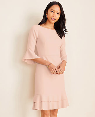 Ann Taylor Tall Doubleweave Flounce Sheath Dress