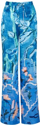 Peter Pilotto Floral-print Wide-leg Satin-twill Trousers