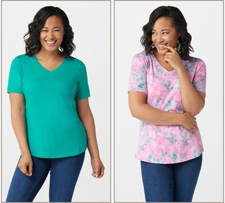 Denim & Co. Perfect Jersey Set of Two Short-Sleeve Tops