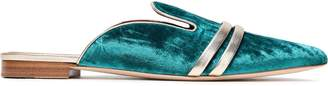 Malone Souliers Hermione Metallic Leather-trimmed Velvet Slippers