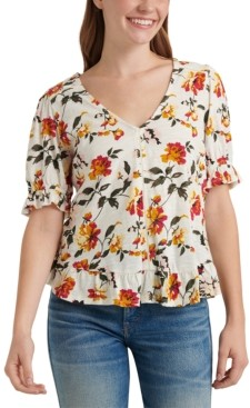 Lucky Brand Cotton Floral-Print Top