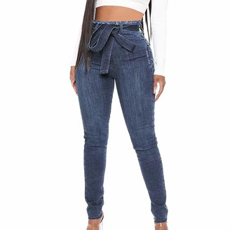 Lhhh Jeans for Teen Girls Women's Jeans Bow Tie High Waist Slim Fit Lace-up Pants Jeans Bootcut Ladies Boot-Cut Denim Pants High Waisted Flared Jean
