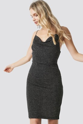 NA-KD Glittery Spaghetti Strap Dress Black