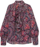 Etro Ruffled Printed Silk Crepe De Chine Blouse - Purple