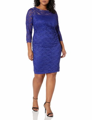 Ronni Nicole Women's Plus Size 3/4 Sleeve Side Rouched Lace