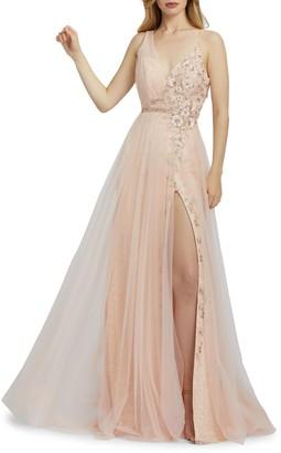 Mac Duggal Floral Sleeveless Mesh Gown