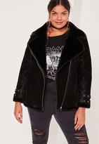 Missguided Plus Size Faux Fur Lined Pilot Jacket Black