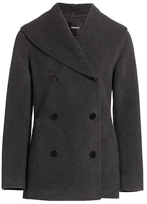 Theory Shawl Collar Wool Cashmere Peacoat