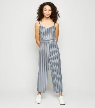 New Look Girls Stripe Cut Out Wide Leg Jumpsuit