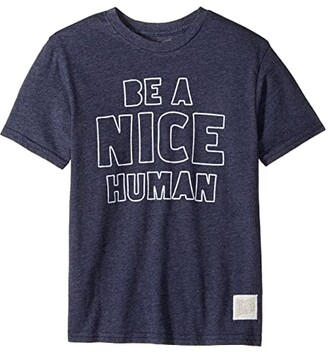 The Original Retro Brand Kids Be A Nice Human Short Sleeve Tri-Blend Tee (Big Kids) (Streaky Navy) Boy's T Shirt