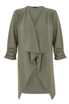 Quiz Khaki Waterfall Ruched Front Jacket