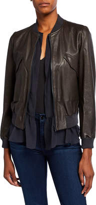 Brunello Cucinelli Leather Jacket with Ruffle Silk-Blend Vest