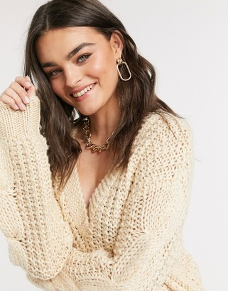 Y.A.S waffle knit jumper with v neck in cream