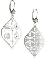 "Liz Palacios Plumas"" Swarovski Crystallized Silver Filigree Earrings"