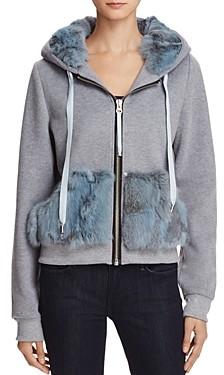 Jocelyn Rabbit Fur Trim Sweatshirt