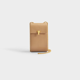 THE VOLON Phone Case Bag In Beige Calfskin