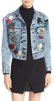 Alice + Olivia Women's 'Chloe' Embellished Crop Denim Jacket