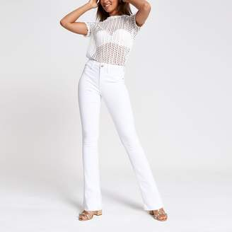 River Island Womens White bootcut jeans