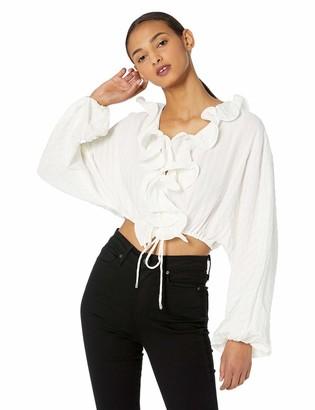 C/Meo Women's Distinct Long Sleeve Ruffle Crop TOP