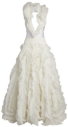 Maria Lucia Hohan Alice V-Neck Ruffle Gown
