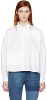 McQ White Cropped Ruffle Shirt